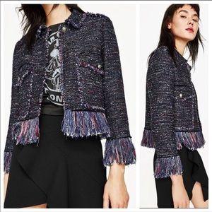 Zara Tweed Frayed Blazer Jacket Raw Hem Size XL